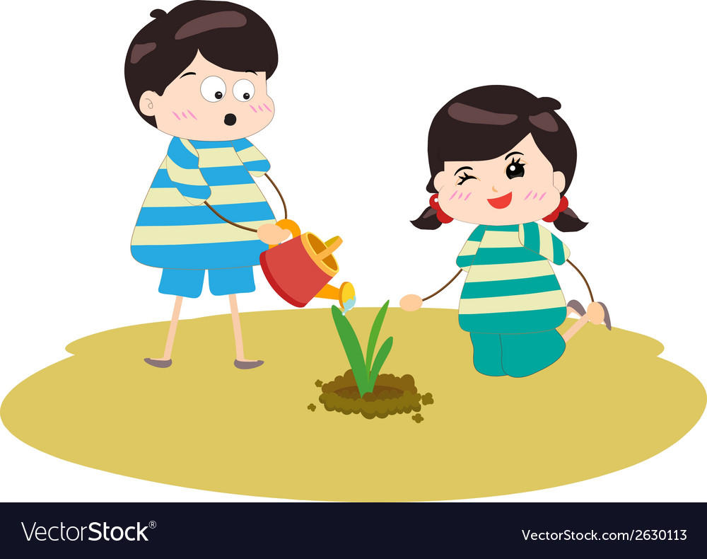 Two happy kids watering and planting plants vector | Price: 1 Credit (USD $1)