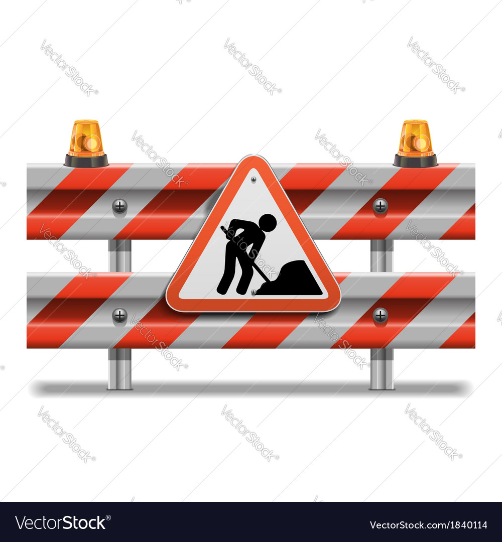 Barrier with sign and beacon vector | Price: 1 Credit (USD $1)