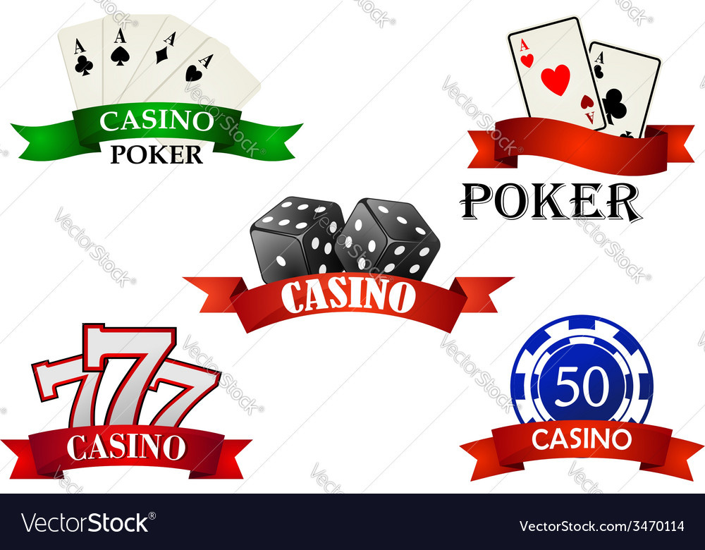 Casino and gambling emblems or symbols vector | Price: 1 Credit (USD $1)