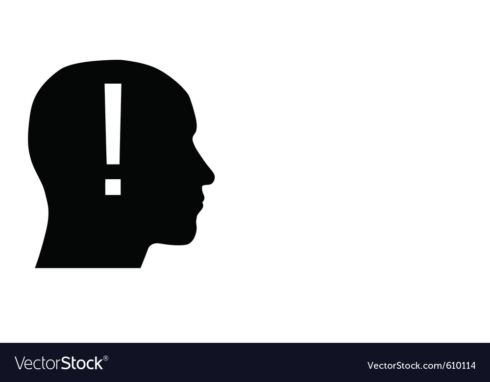 Head with exclamation point vector | Price: 1 Credit (USD $1)