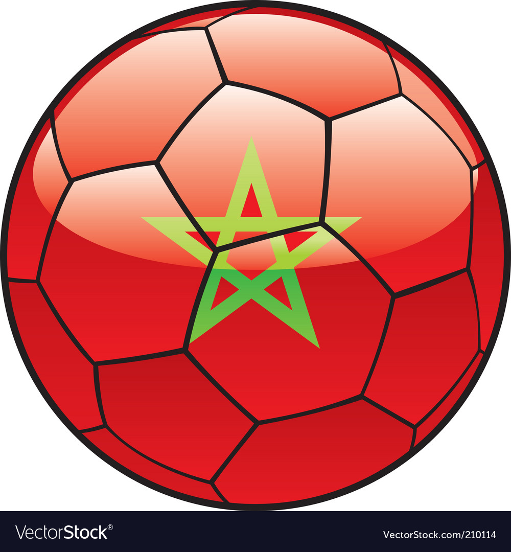 Morocco flag on soccer ball vector | Price: 1 Credit (USD $1)