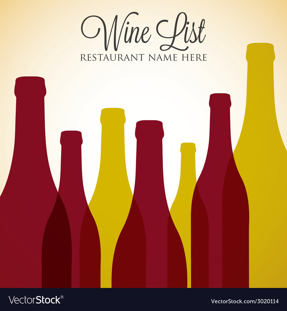 Red and white wine list menu cover in format vector | Price: 1 Credit (USD $1)