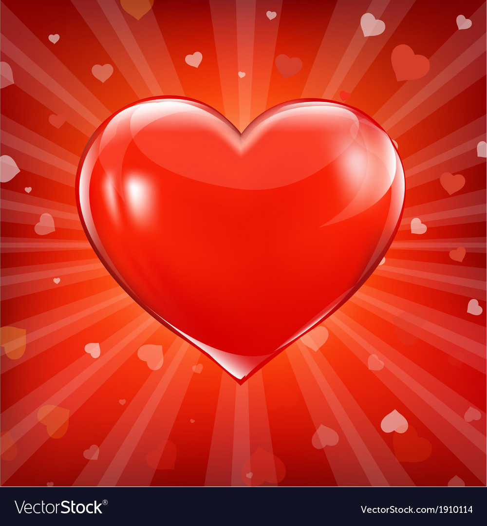 Red heart and background with beams vector | Price: 1 Credit (USD $1)
