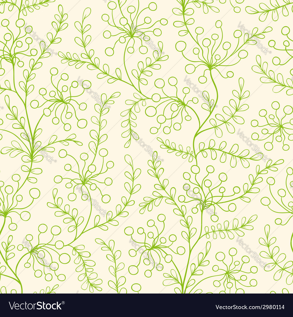 Seamless pattern with green plants vector | Price: 1 Credit (USD $1)