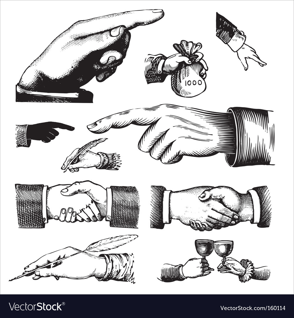 Set of antique hands engravings vector | Price: 1 Credit (USD $1)