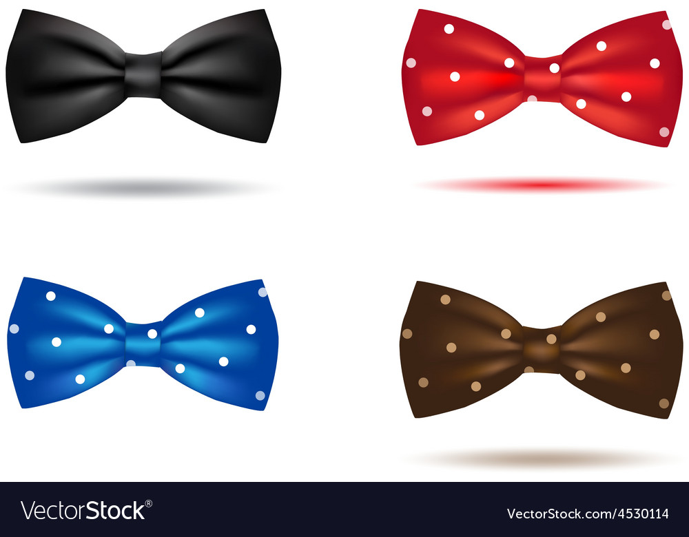 Set of colorful realistic bow ties vector