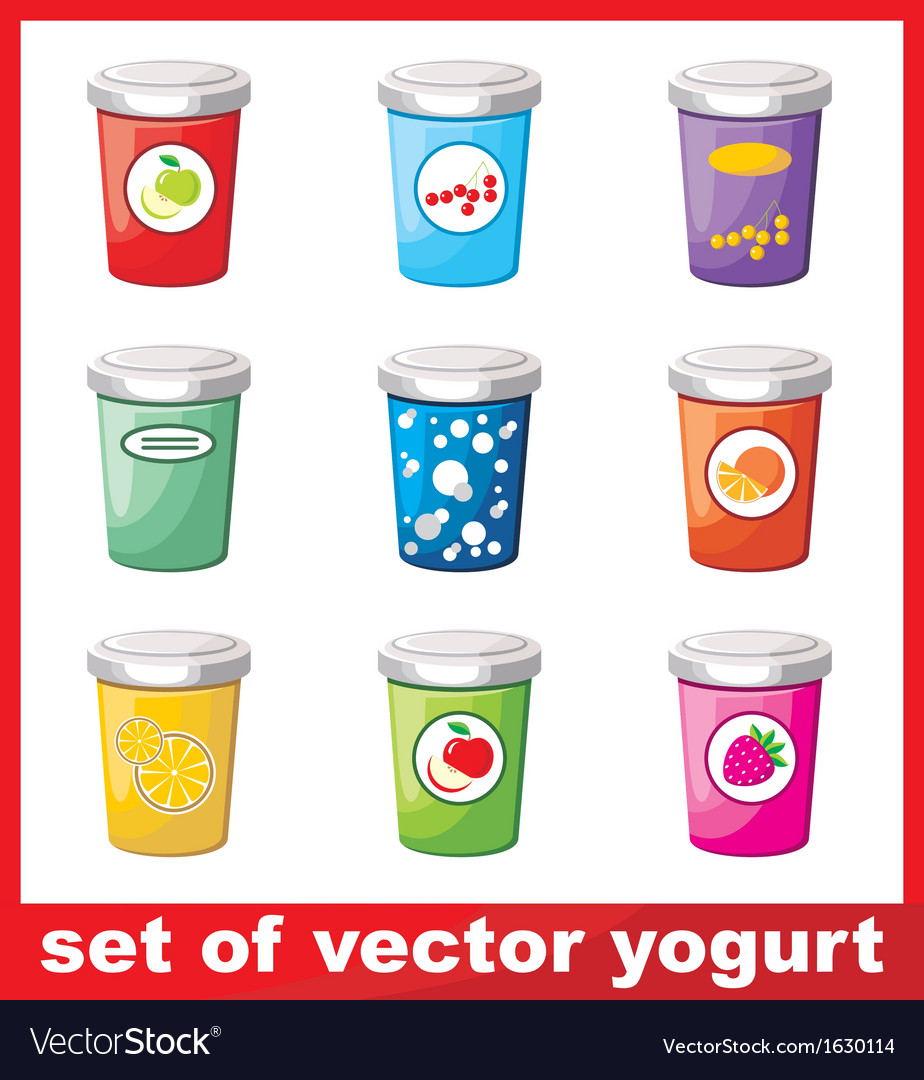 Set of yogurt vector | Price: 1 Credit (USD $1)