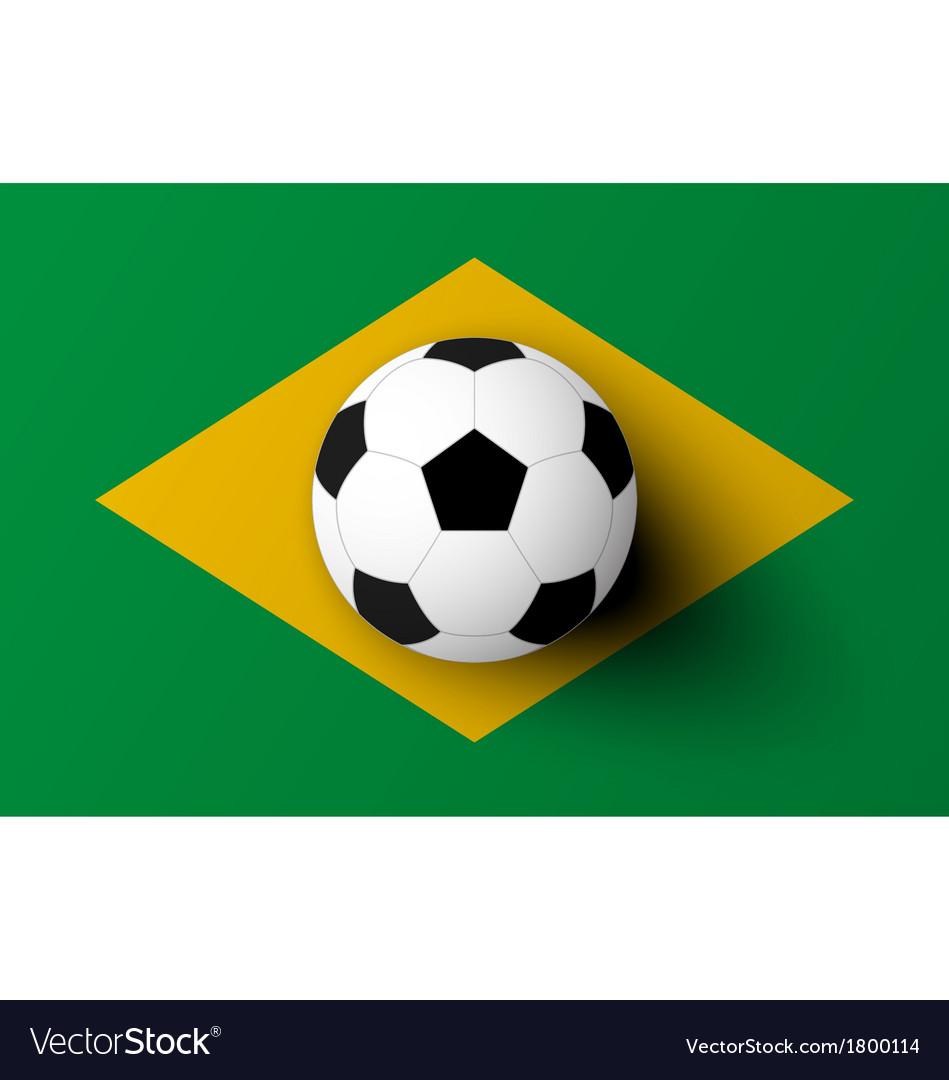 Soccer ball on brazil flag vector   Price: 1 Credit (USD $1)
