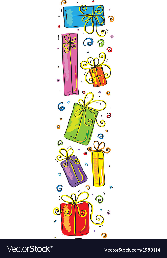 Vertical border with gifts vector | Price: 1 Credit (USD $1)