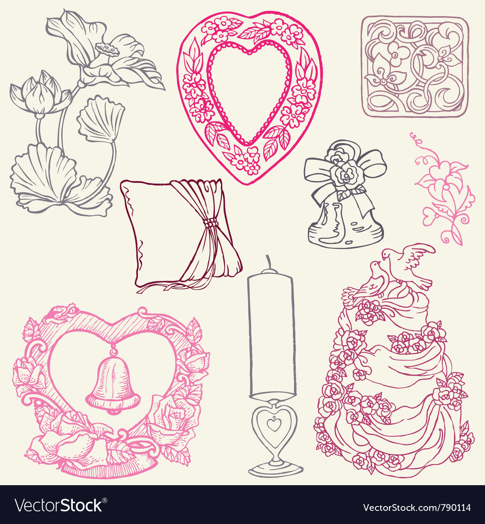 Vintage wedding elements vector | Price: 1 Credit (USD $1)