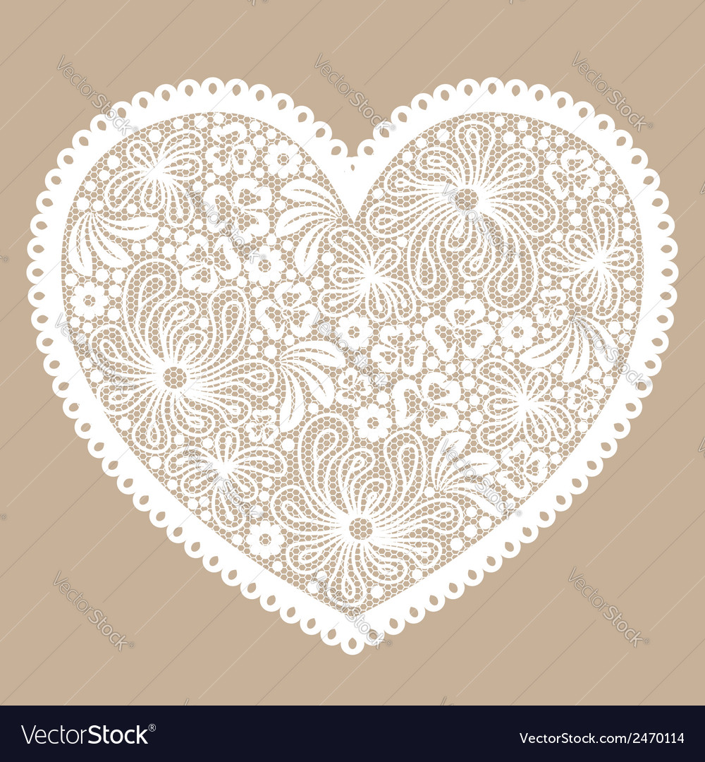 White lacy heart on beige background vector | Price: 1 Credit (USD $1)