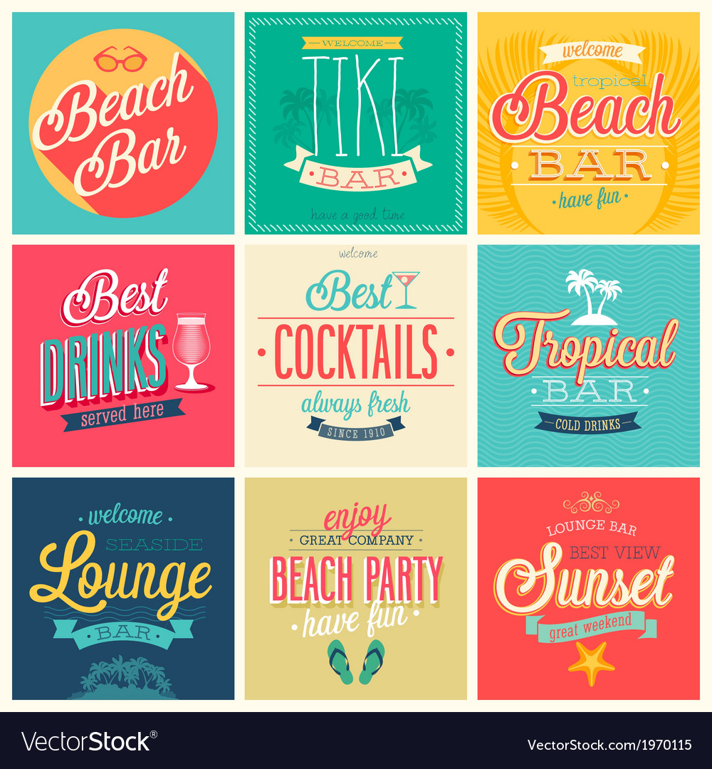 Beach bar set vector | Price: 1 Credit (USD $1)