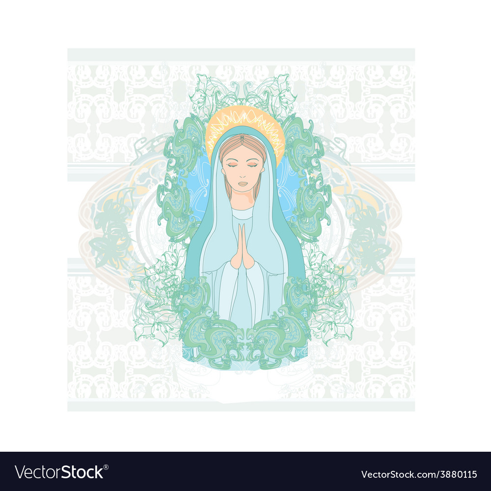 Blessed virgin mary portrait vector | Price: 1 Credit (USD $1)