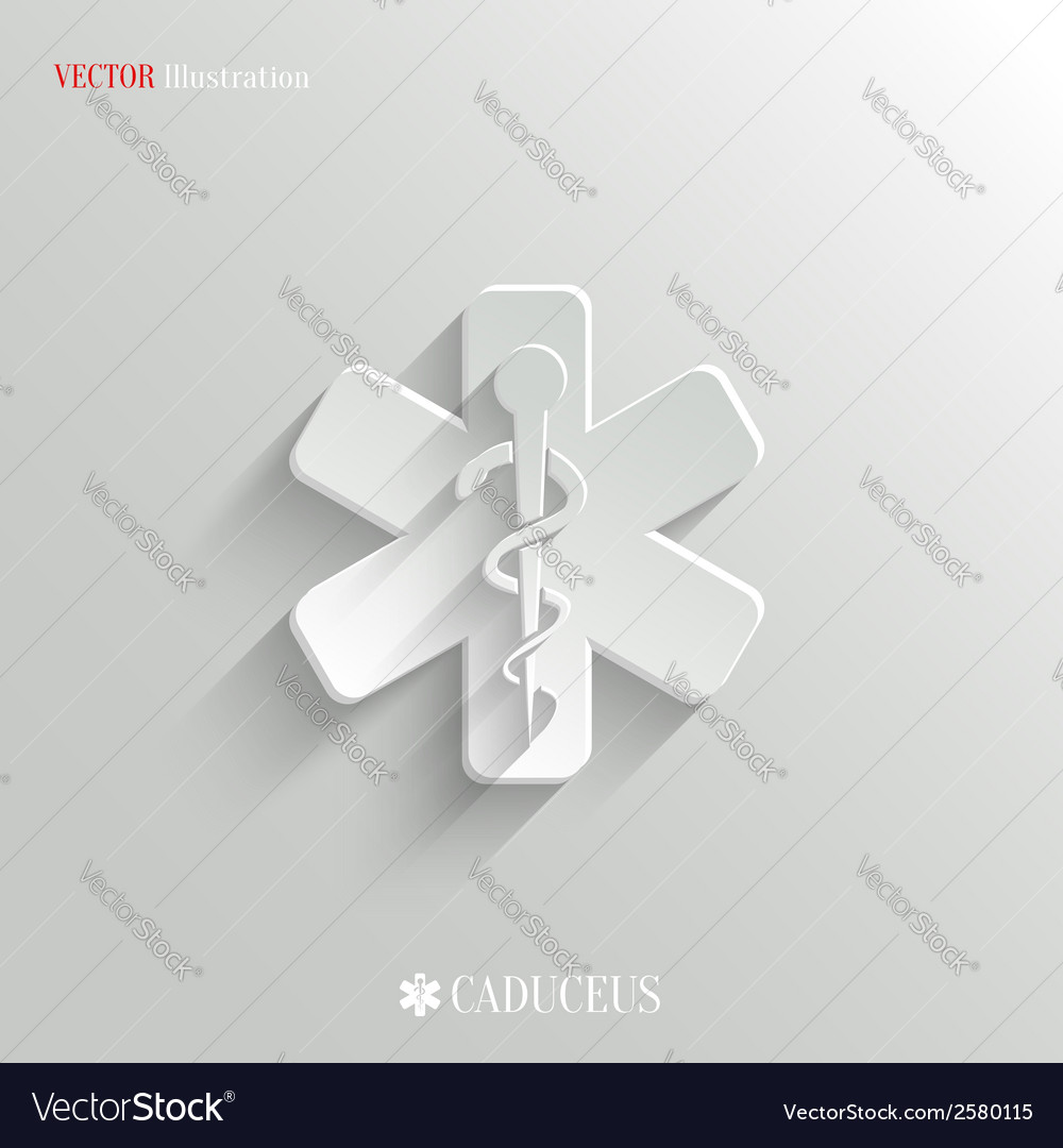 Caduceus medical symbol- white app icon vector | Price: 1 Credit (USD $1)