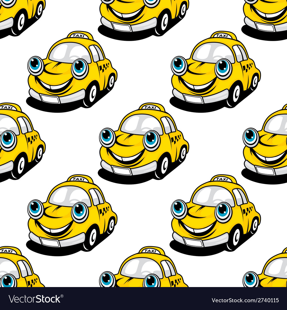 Cartoon taxi car seamless pattern vector | Price: 1 Credit (USD $1)