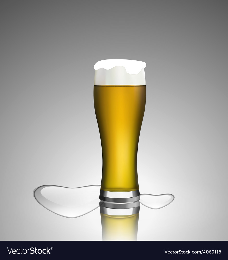 Close up glass of beer with hearts vector | Price: 1 Credit (USD $1)