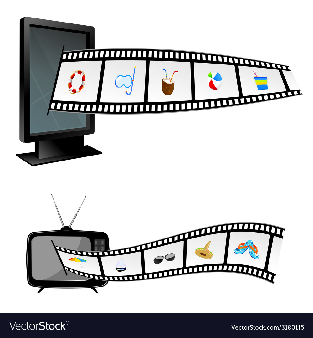 Film tape with beach stuff and tv vector | Price: 1 Credit (USD $1)