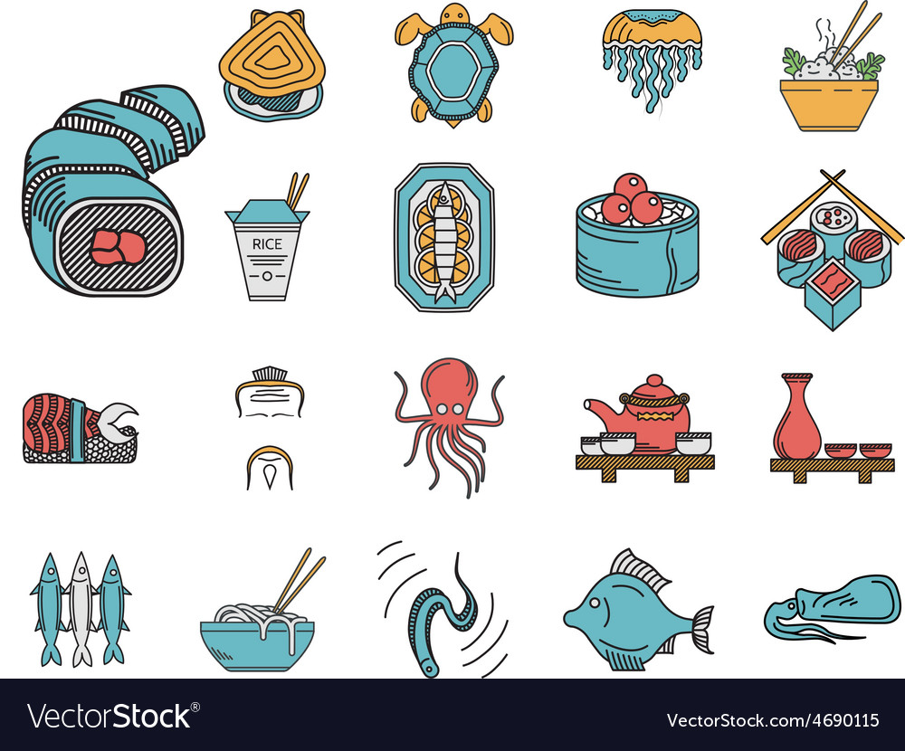 Flat color icons for seafood menu vector | Price: 1 Credit (USD $1)