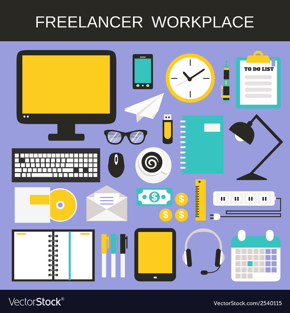 Freelancer workplace icons set vector | Price: 1 Credit (USD $1)