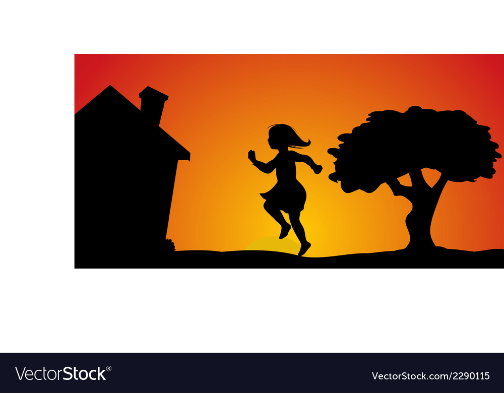 Girl skipping sunset vector | Price: 1 Credit (USD $1)