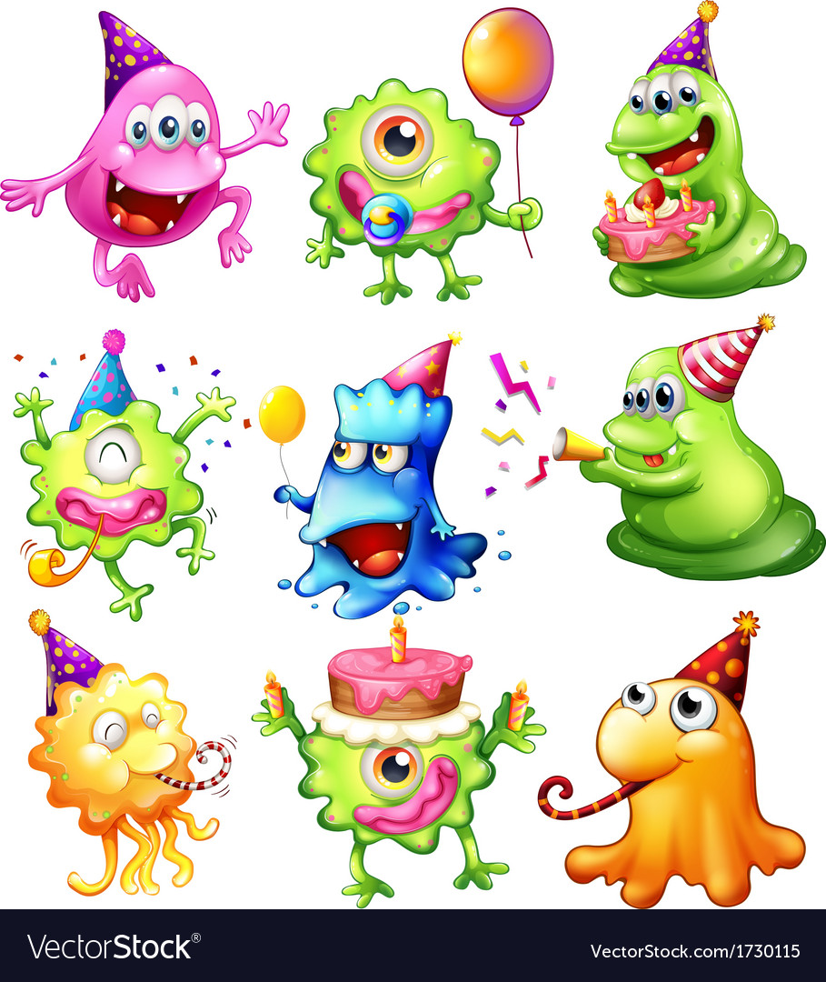 Happy monsters celebrating a birthday vector | Price: 1 Credit (USD $1)