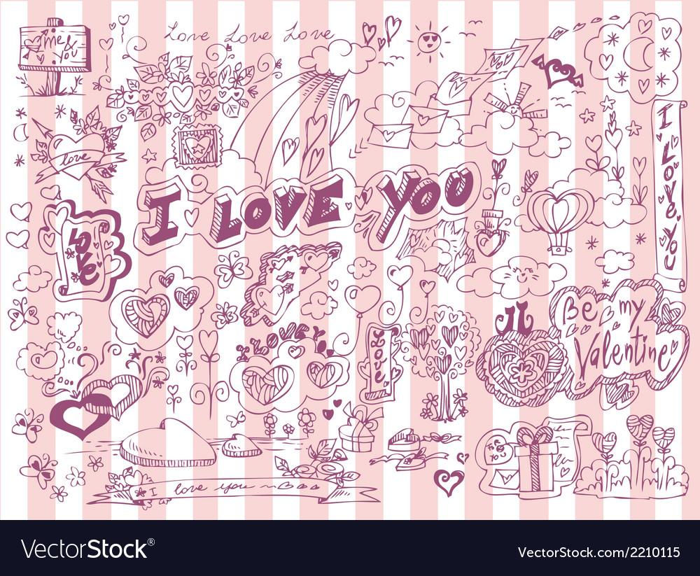 Love doodles set vector | Price: 1 Credit (USD $1)