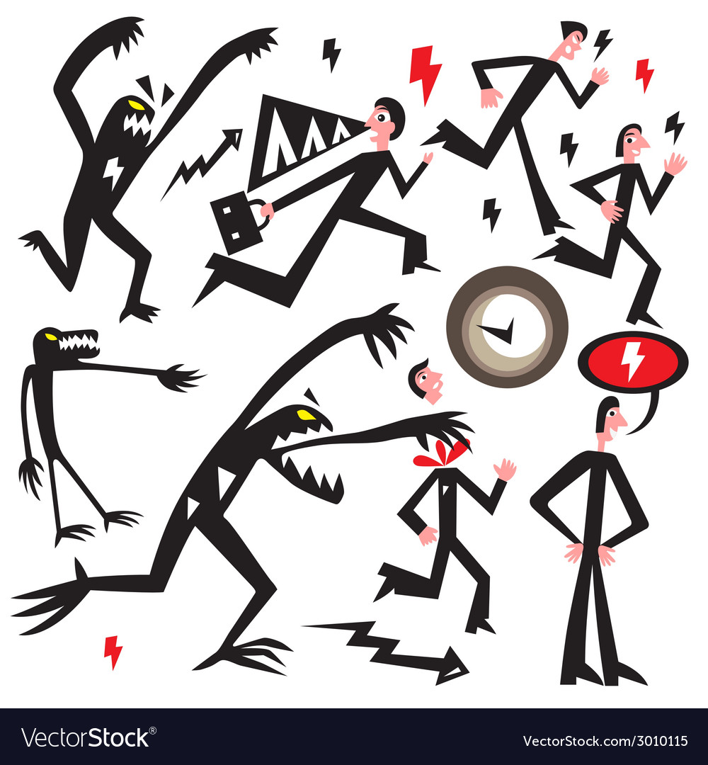 Man running away from the monster vector | Price: 1 Credit (USD $1)