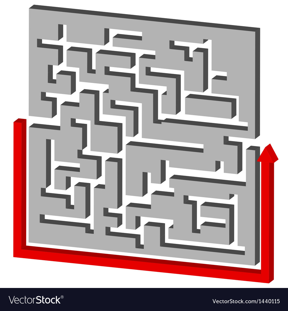 Maze puzzle solution vector | Price: 1 Credit (USD $1)