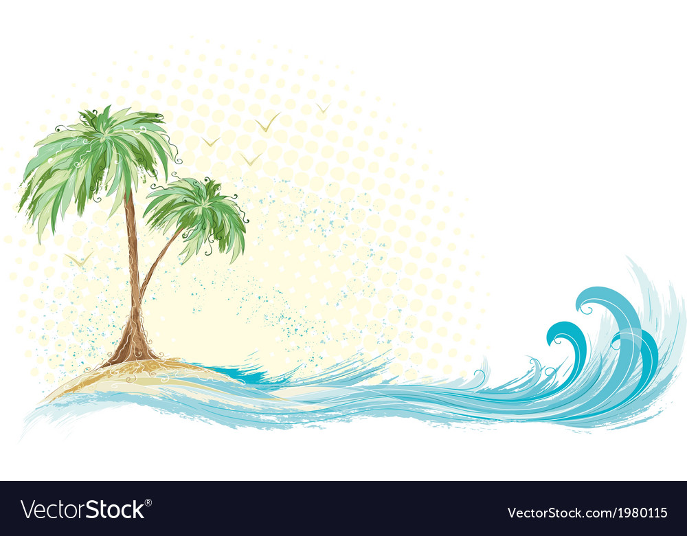 Palm tree island vector | Price: 1 Credit (USD $1)