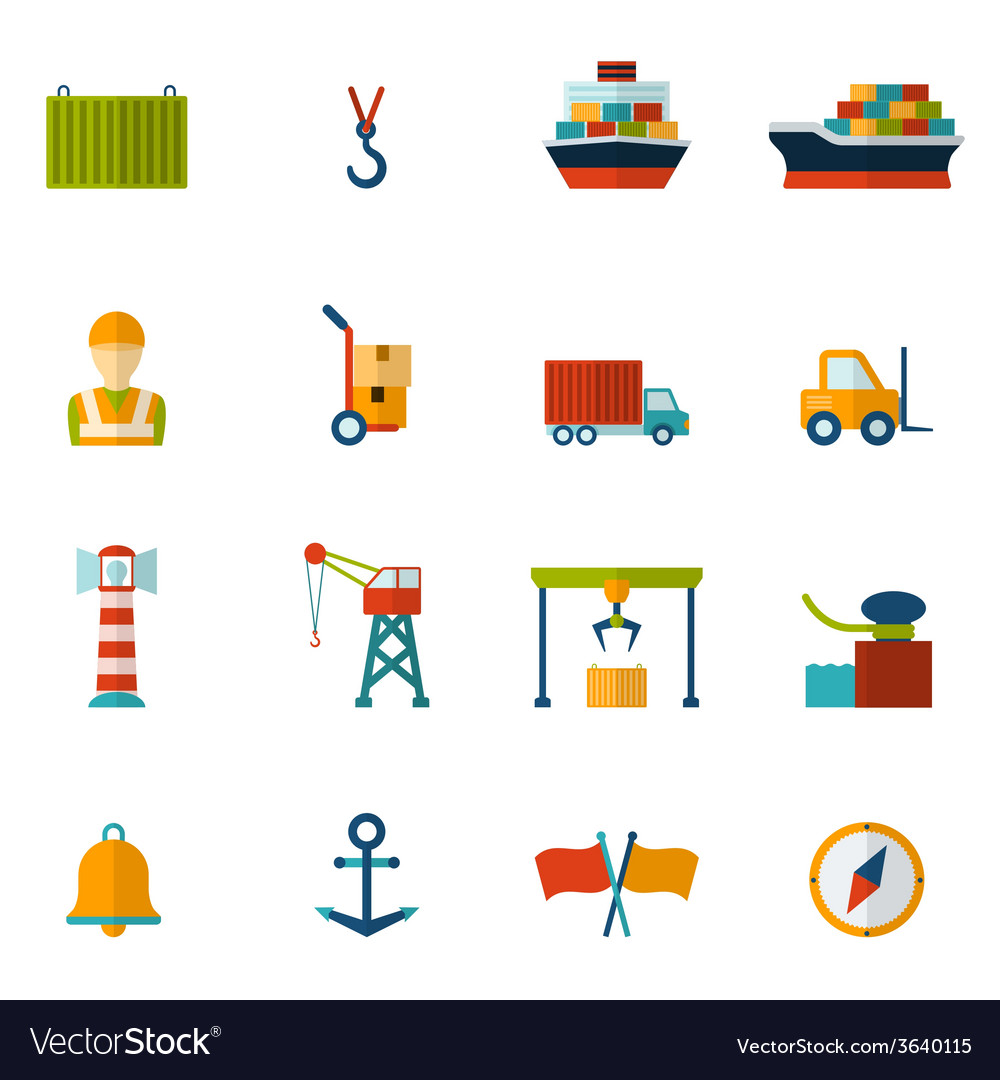 Seaport flat icon vector | Price: 1 Credit (USD $1)