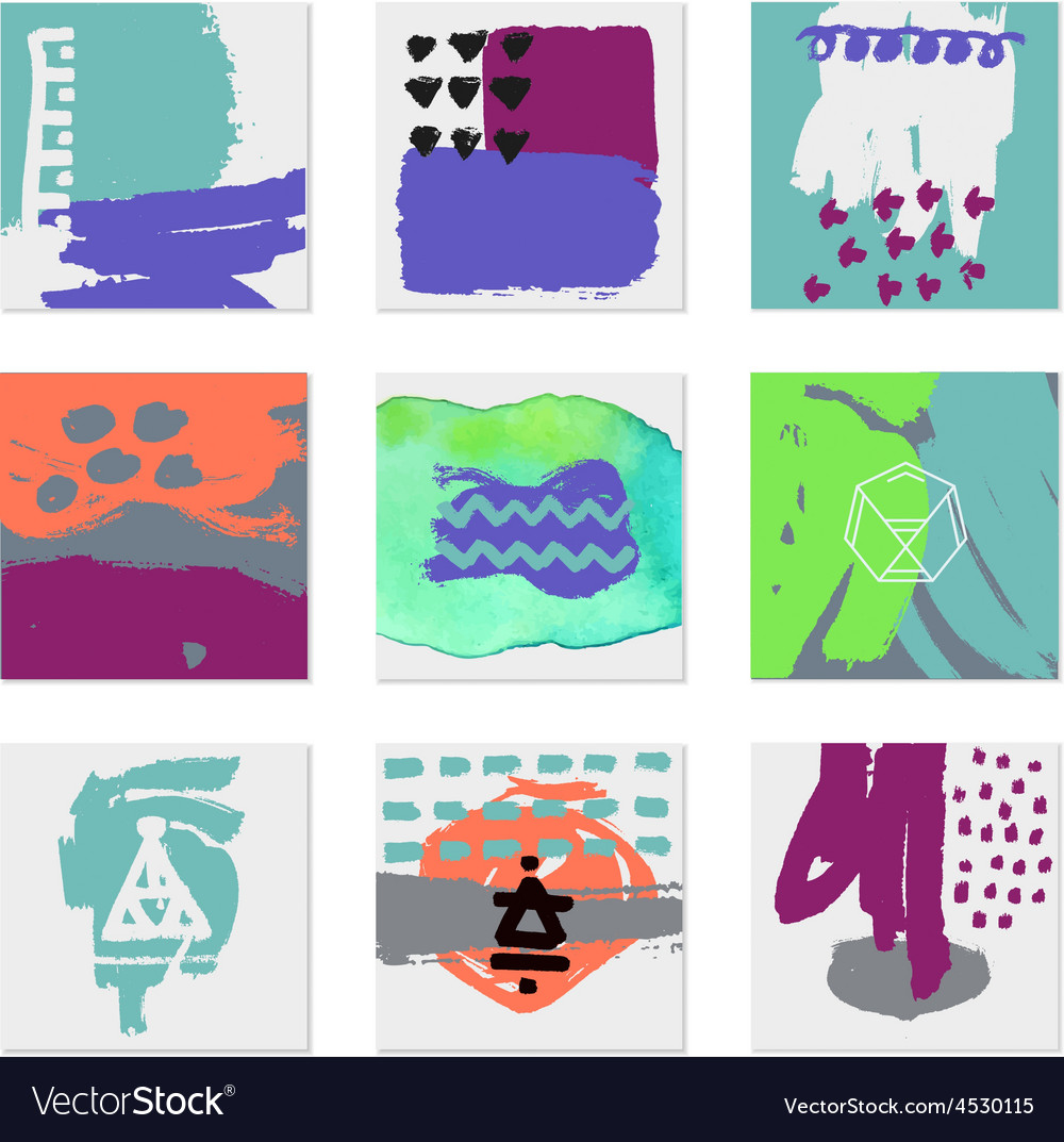 Set of 9 creative universal cards hand drawn vector | Price: 1 Credit (USD $1)