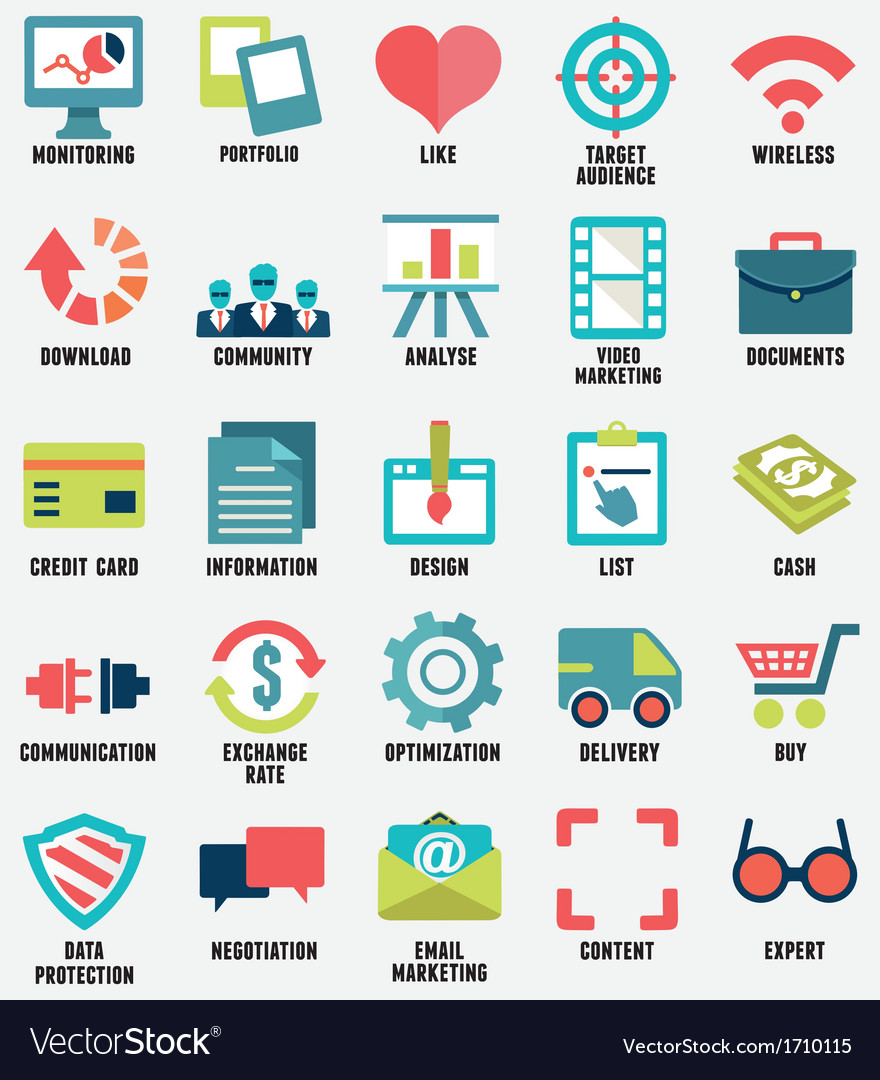 Set of media service flat icons - part 1 - icons vector | Price: 1 Credit (USD $1)