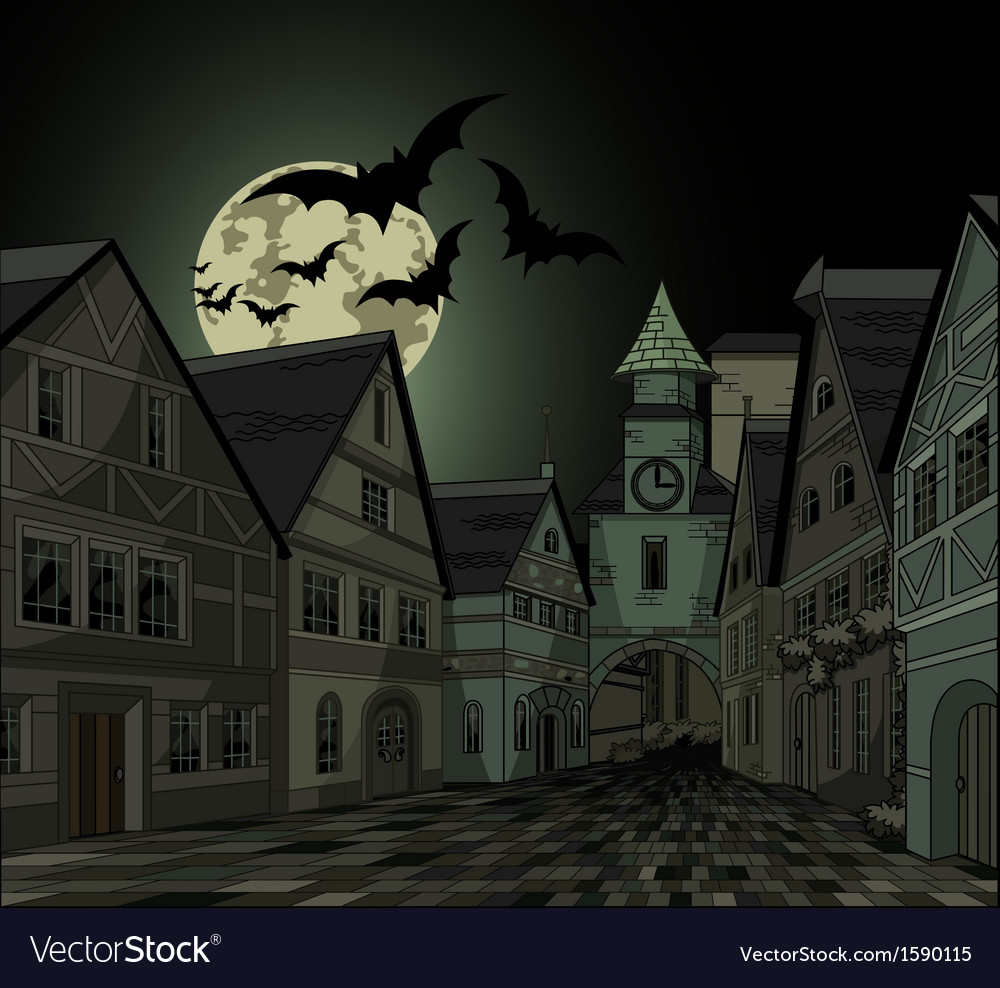 Spooky night at town vector | Price: 3 Credit (USD $3)