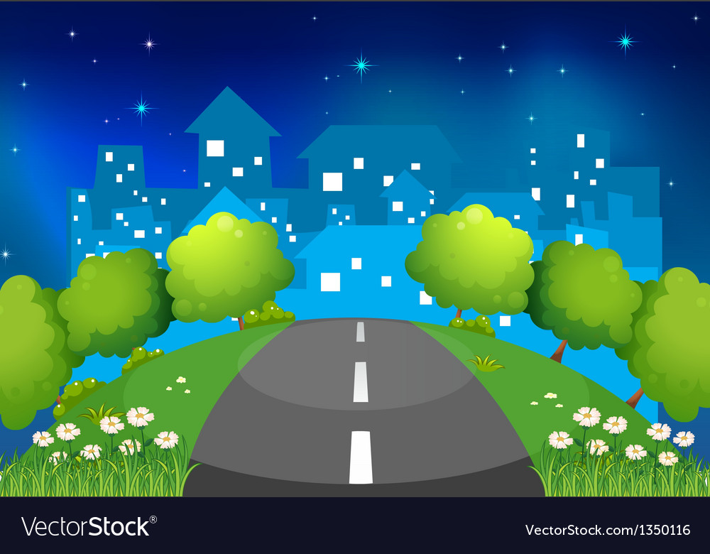 A road at the hill with flowers and trees vector | Price: 1 Credit (USD $1)