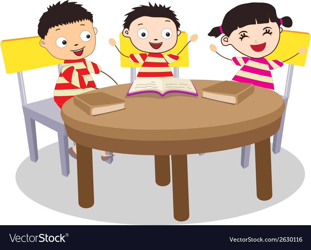 A small group of kids open book and learning vector | Price: 1 Credit (USD $1)