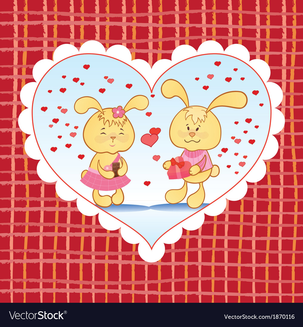Bright background with hearts and bunnies vector | Price: 1 Credit (USD $1)