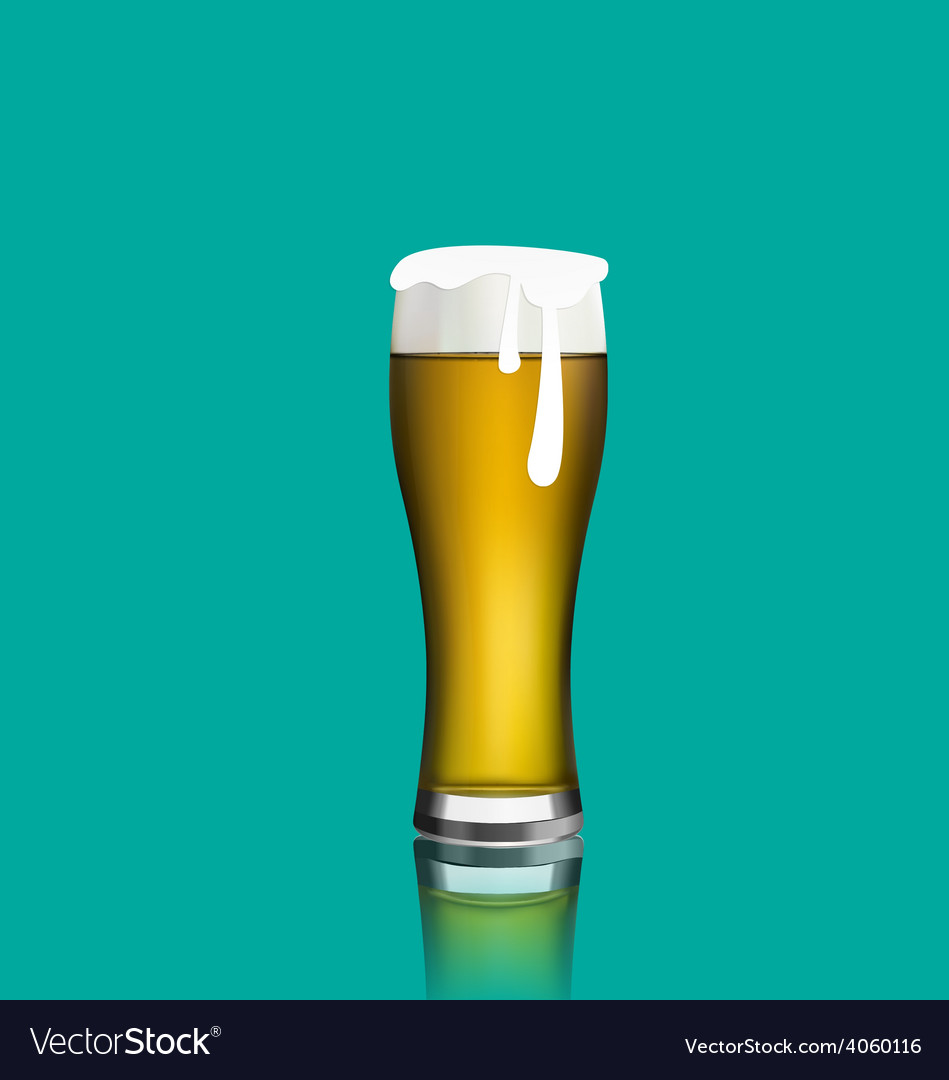 Close up realistic glass of beer with reflection vector | Price: 1 Credit (USD $1)