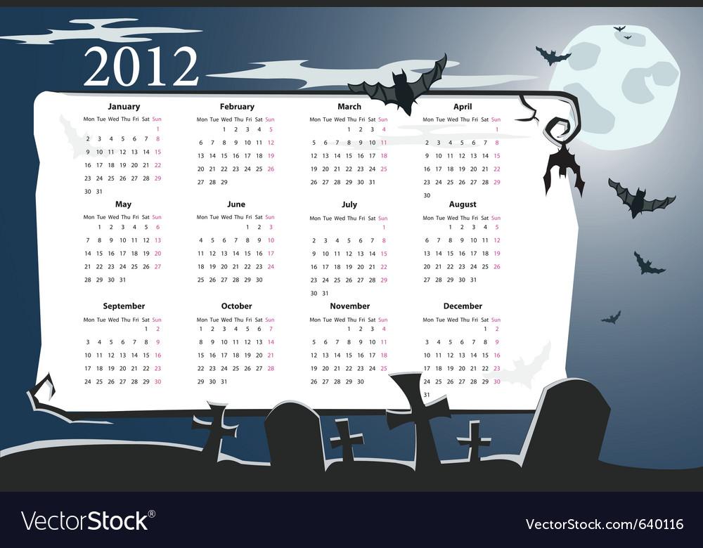 European halloween calendar 2012 vector | Price: 1 Credit (USD $1)