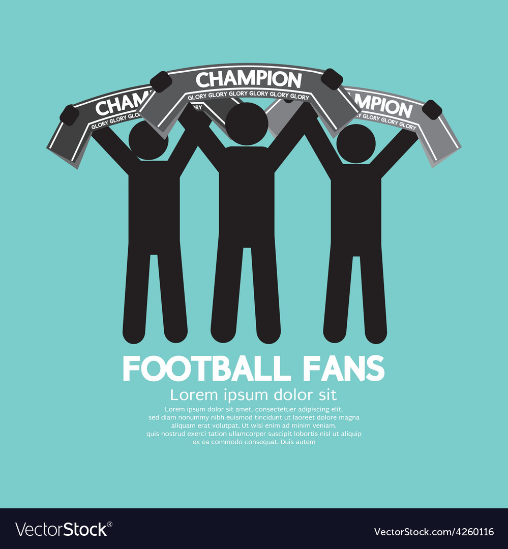 Football fans with champion scarves vector | Price: 1 Credit (USD $1)