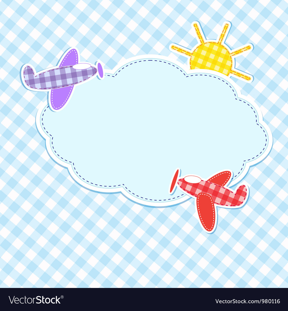 Frame with colorful aeroplanes vector | Price: 1 Credit (USD $1)