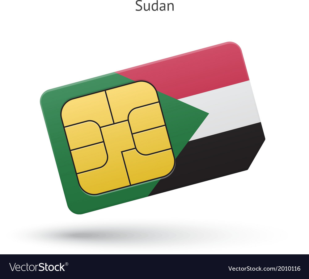 Sudan mobile phone sim card with flag vector | Price: 1 Credit (USD $1)