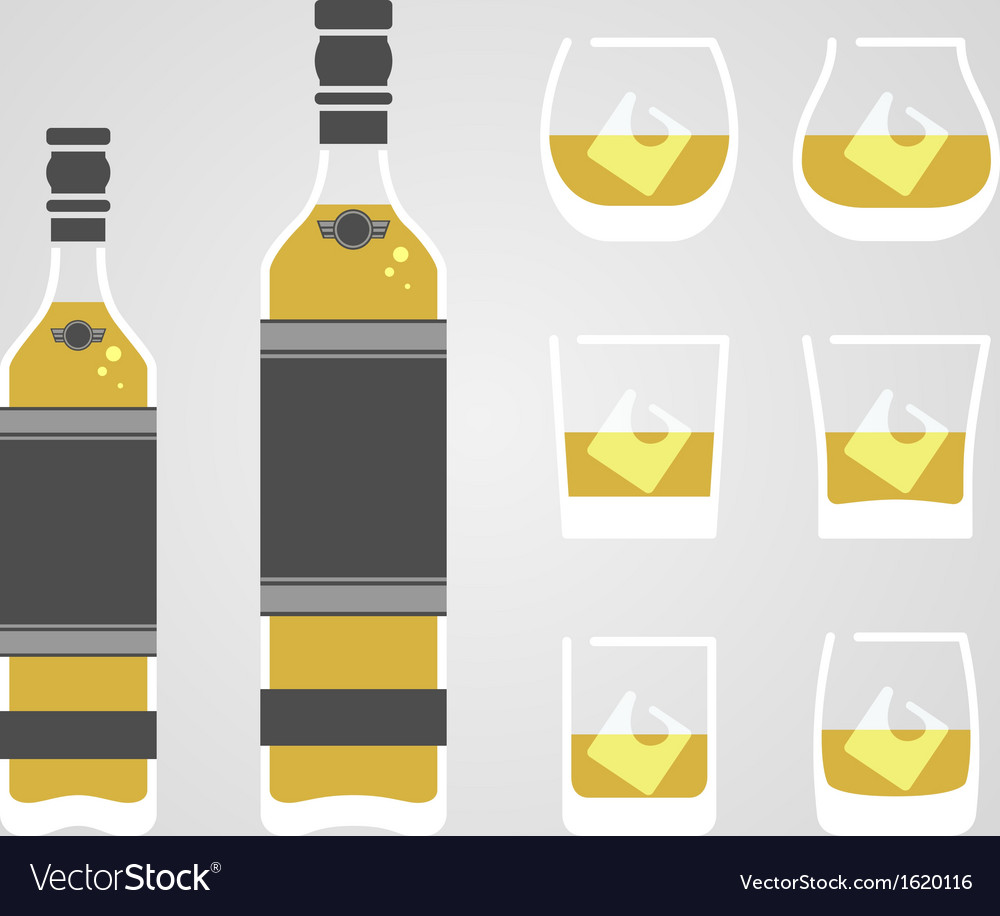 Whisky in glass vector | Price: 1 Credit (USD $1)