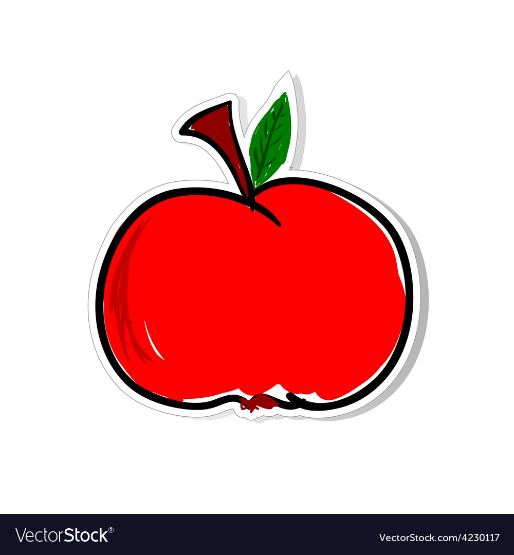 Apple for sticker vector | Price: 1 Credit (USD $1)