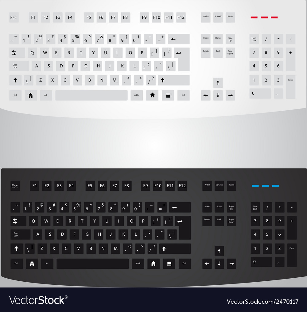 Black and white computer keyboard eps10 vector | Price: 1 Credit (USD $1)