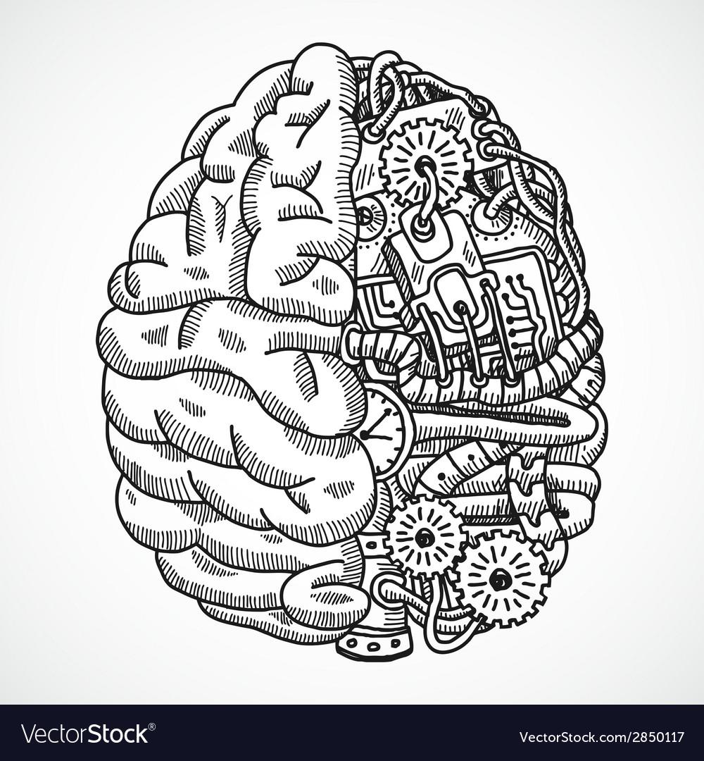 Brain as processing machine vector | Price: 1 Credit (USD $1)