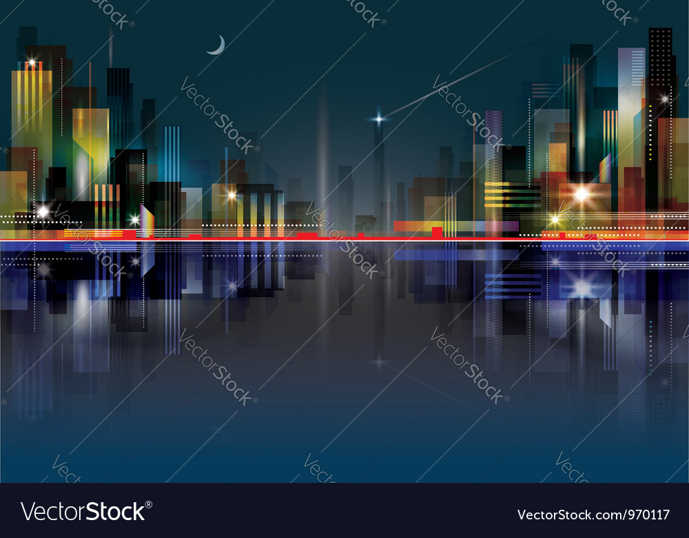 City landscape at night vector | Price: 1 Credit (USD $1)