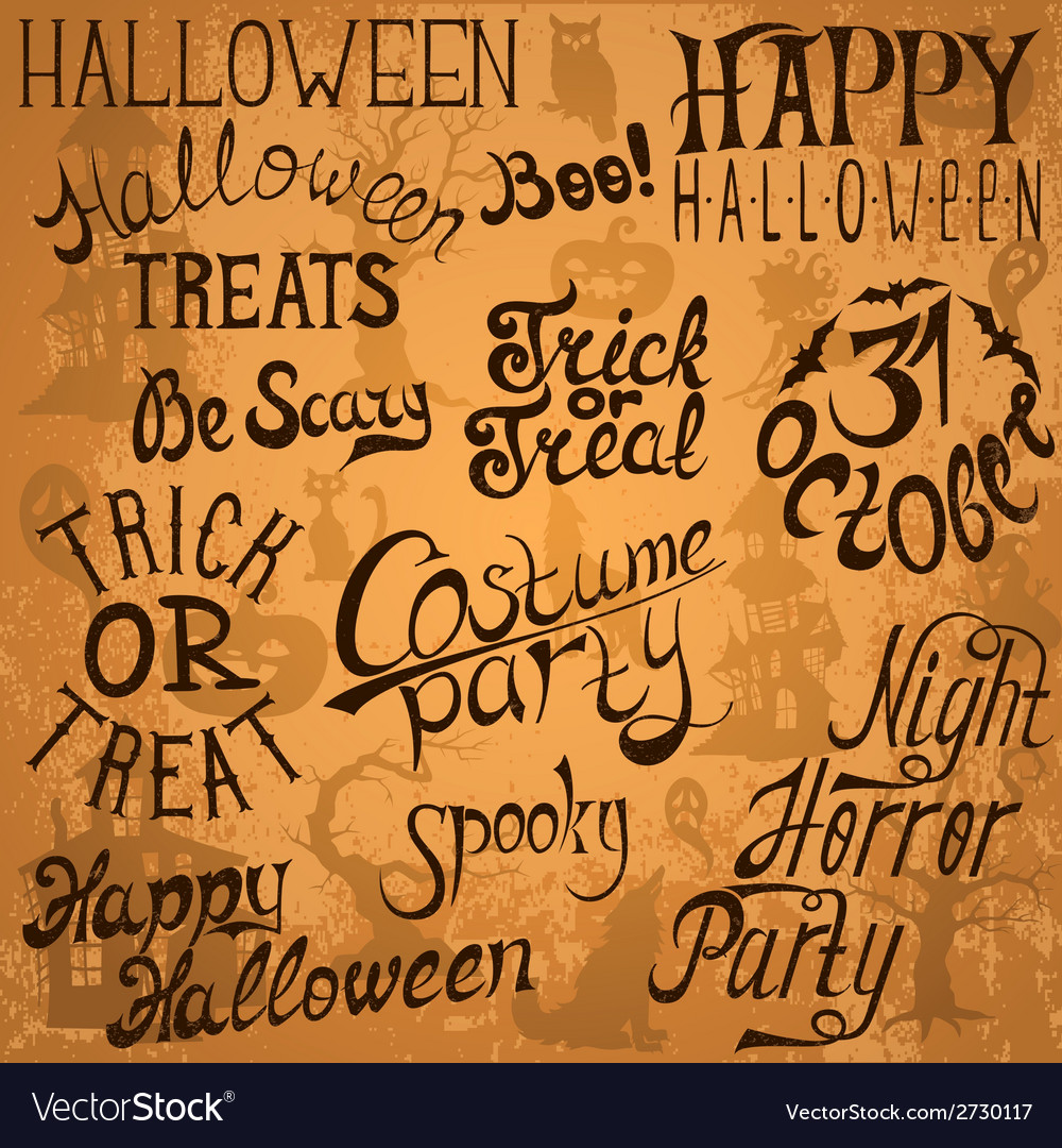 Collection of halloween hand typography designs vector | Price: 1 Credit (USD $1)