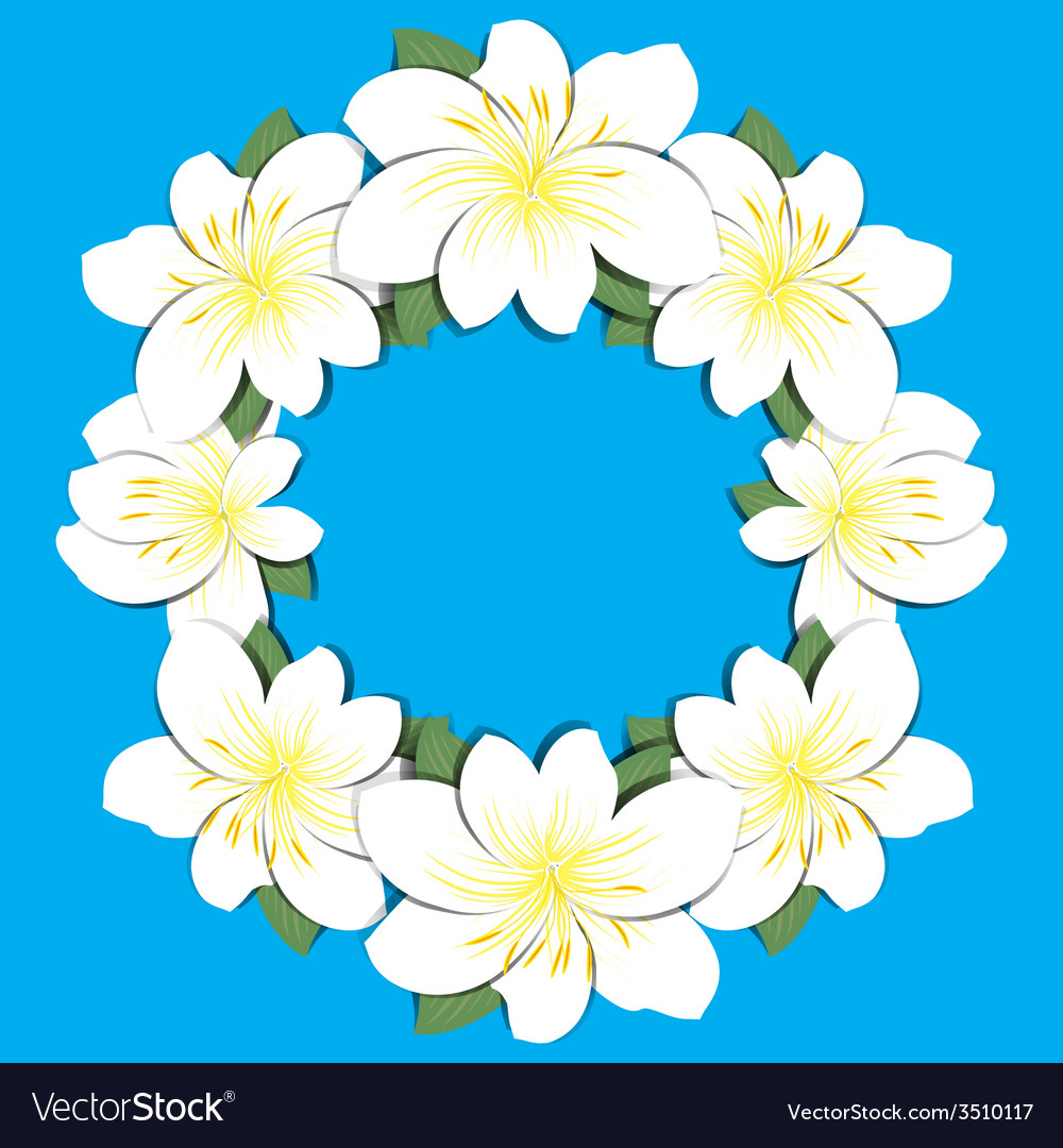 Floral background round frame vector | Price: 1 Credit (USD $1)