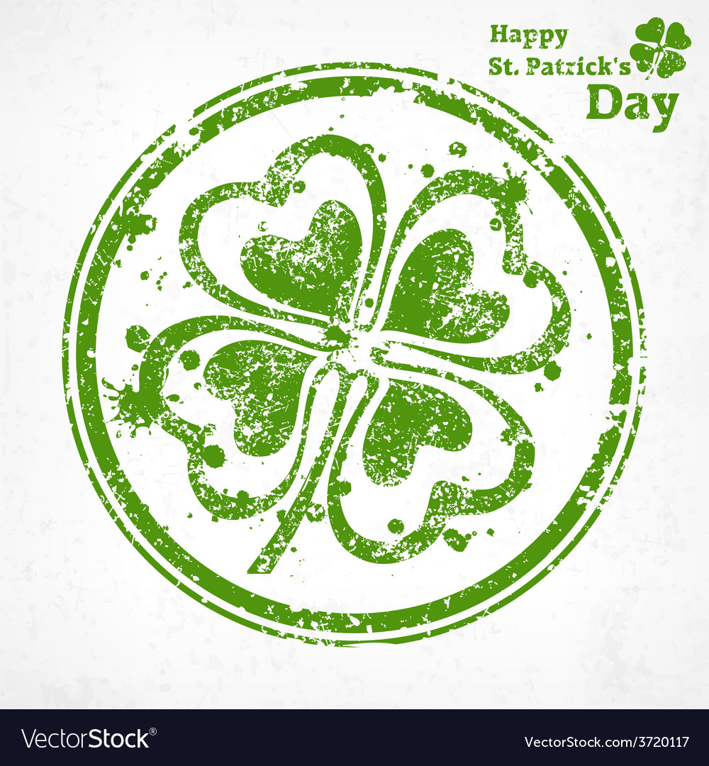 Four leaf clover grunge in vector   Price: 1 Credit (USD $1)