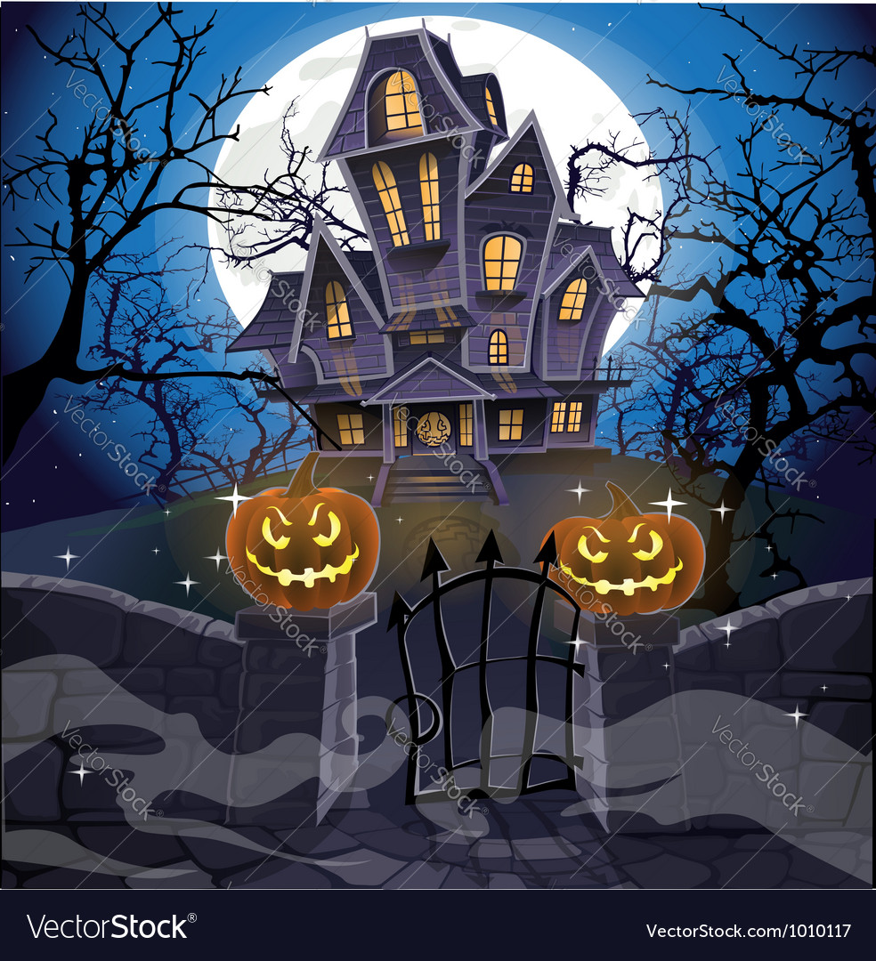 Happy halloween cozy haunted house behind a wall vector | Price: 5 Credit (USD $5)